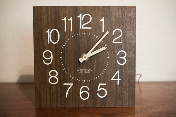 Westclox Square Wooden Wall Clock