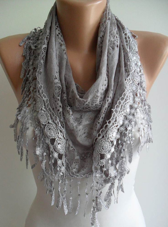 Grey Laced Scarf with Grey Trim Edge  - Speacial Laced Fabric