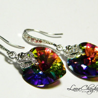 Wedding Earrings Swarovski Heart Drop Vitrail Medium Crystal Cubic Zirconia Rhodium Sterling Silver Hooks FREE US Shipping