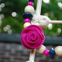 Hadley Ribbon Necklace in Jewel Tones with Rose Felt Flower Center