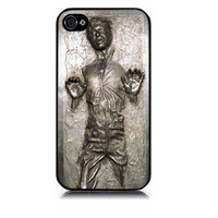 iPhone 4 case Han Solo Carbonite includes screen protector and cleaning cloth. Available in black or white