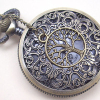 hollow dial Pocket watch(big size) Locket Necklace,with a tree