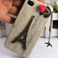 Eiffel Tower,bird,Iphone Case iPhone 4 Case, iphone 4 cover, New Hard Fitted Case For iphone 4 & iphone 4S, Apple iPhone 4 Case