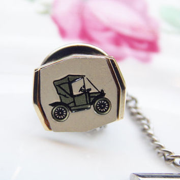 Tie Pin, Men's Tie Pin, Stratton, Stratton Tie Pin, Tie Tack, Vintage Men's, Vintage Car, Car, Gold, Cream, Men's Accessories - 1970s-1980s