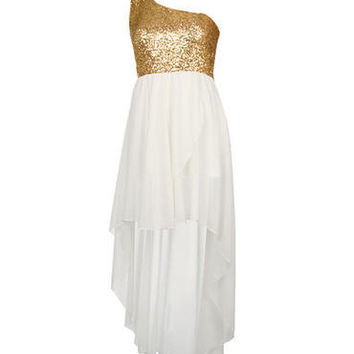 White Sequin Detail Mixi Dress - Clothing - desireclothing.co.uk