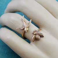 The birds and the bees ring oxiidized brass by mylavaliere on Etsy