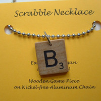Scrabble Necklace Pendant - All Letters Available - Choose Your Initial - Aluminum Chain