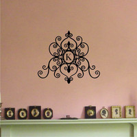 Personalized Scrolled Monogram Vinyl Wall Art Decal Sticker