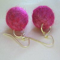 Bright Pink/Neon Purple Knit Earrings