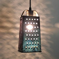 KitteryVintage GRATER Turned PENDANT Created NEW by LampGoods