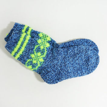 Hand Knitted Socks for Teens - Blue, White and Black, Size Small
