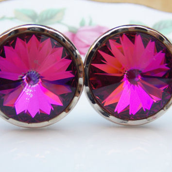 Cufflinks, Men's Cufflinks, Stratton Cufflinks, Stratton, Purple Cufflinks, Men's Accessories, Silver, Gem, Glass - 1970s