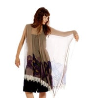 Hand painted silk scarf.Silk chiffon Set- Shawl and Tunic - The plum Irises with beige-Mothers day gift-One size
