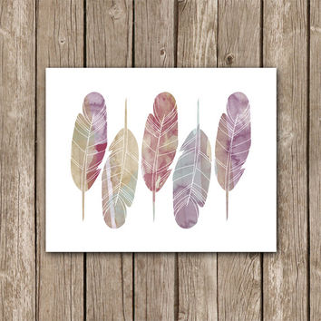 Watercolor Feathers - Boho Feather Printable Wall Art Decor - Nursery Art - Tribal Aztec Poster Art - INSTANT DOWNLOAD