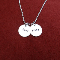 LOVE and TRUST ... stamped necklace