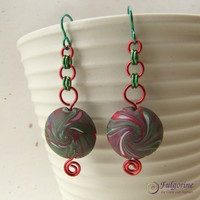 Festive red and green lentil bead and chain earrings, hypo allergenic niobium ear wires, handmade polymer clay beads