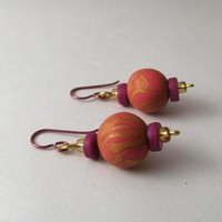 Pink, gold and purple earrings, handmade polymer clay beads, hypo allergenic earwires