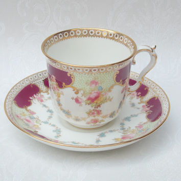 Teacup and Saucer, Teacup Set, Tea Set, Bisto China, Bishop & Stonier, Art Nouveau Teacup