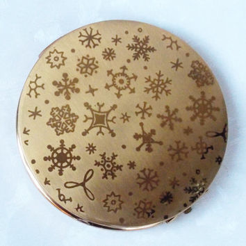 Powder Compact, Stratton Compact, Mirror Compact, Stratton Powder Compact, Snowflakes, Winter, Christmas - 1950s