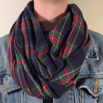 Handmade Infinity Scarf Plaid Flannel - Super Warm Double  Layer Circle Scarf -  Dark Blue, Green, Red, Christmas Present, Holiday Gift