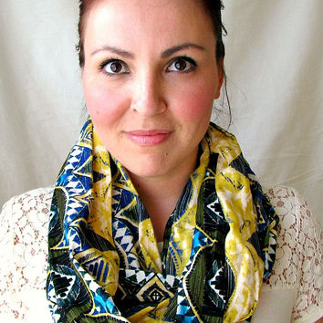 Tribal Print Infinity Scarf, gift for her, lightweight scarf, Fall fashion scarf, Fabric Loop scarf, women's accessories
