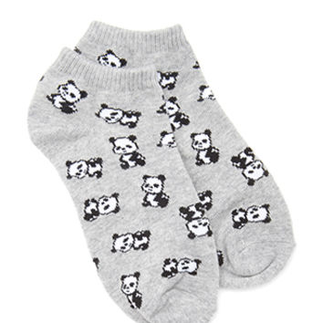 FOREVER 21 Panda Ankle Socks Grey/Black One