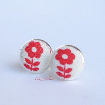 Tiny earrings stud orange flower floral stud earrings - small earring studs - vintage fabric studs