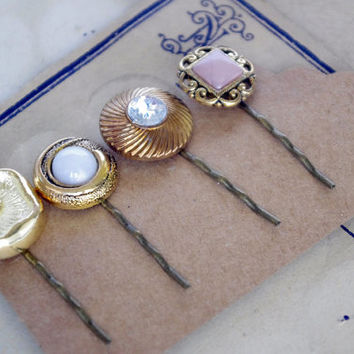 Button Bobby Pin, golden Hair Pin, Vintage Inspired Hair Pins, Vintage Button Hair Pin, Hair Clip, Bobby Pins,