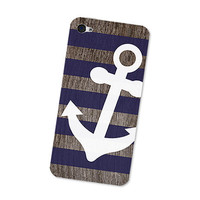 Navy Blue Nautical Anchor iPhone 4S Skin: iPhone 4 Skin Decal - Cell Phone Brown Wood iPhone Skin