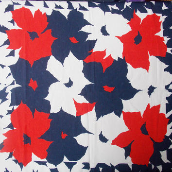 Flower Scarf, Square Scarf, Scarf, Marks and Spencer, St Michael's, Flowers, Floral, Navy, Red, White, Blue - 1970s / 1980s