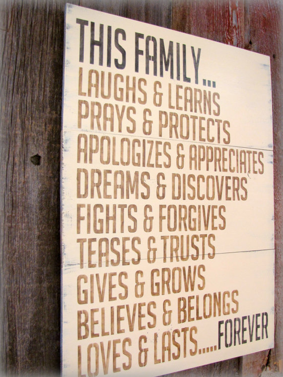 This Family Loves Antiqued Plank Typography by cellardesigns