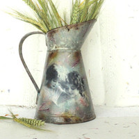 Lavender Watering Can, Vintage Style French Decoupage Pichter or Jug, Metal Flower Holder, Cottage Chic Romantic Summer Decor