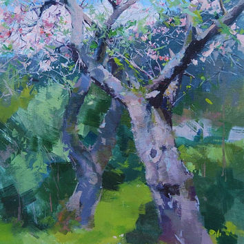 Impressionist Painting Spring - Trees in Blossom Painting - Landscape Oil Painting by Yuri Pysar