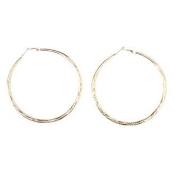 Oversized Etched Hoop Earrings by Charlotte Russe - Gold