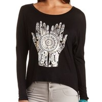 Hamsa Graphic High-Low Tee by Charlotte Russe - Black