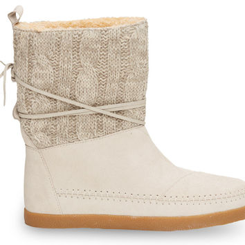 LIGHT GREY CABLE KNIT SUEDE WOMEN'S NEPAL BOOTS