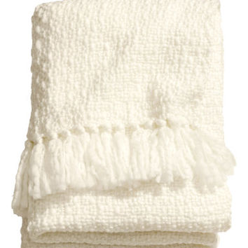 H&M - Throw with Glittery Threads - White