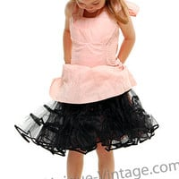 Children's Black 50's Tulle Crinoline Slip - One Size - Unique Vintage - Bridesmaid & Wedding Dresses
