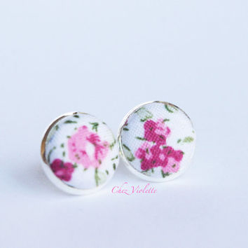 Tiny earrings stud floral rose stud earrings - small earring studs