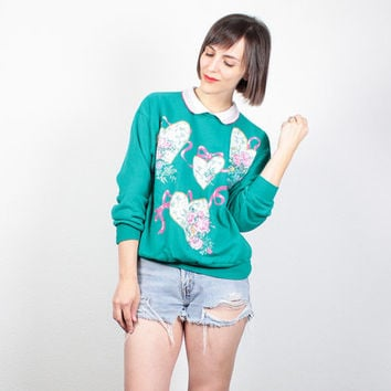 Vintage 1980s Sweatshirt Teal Green Pullover Collared Sweater Pink White HEART Print Kawaii Jumper 80s Slouch Sweatshirt S Small M Medium