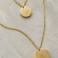 Hammered Disc Layered Necklace
