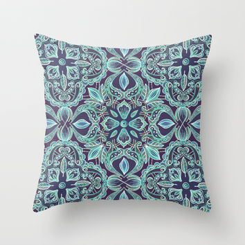 Chalkboard Floral Pattern in Teal & Navy Throw Pillow by micklyn