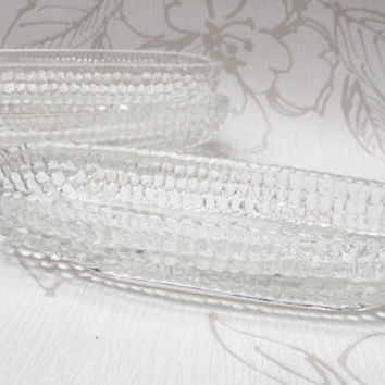 Serving Dishes, Corn Cob Dishes, Sweetcorn Dishes, Glass Dishes, 1970s Kitchen, Set of Three - 1970s