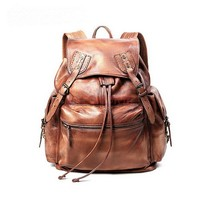 Distressed leather drawstring backpack for women brown by Ubackpack