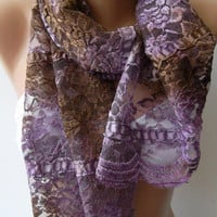 Elegance - Purple - Brown - Lace and Elegance Shawl /Scarf...