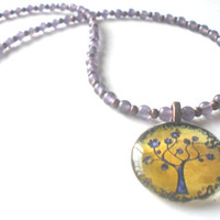 Charity Purple and Gold Tree of Life Pendant Amethyst Beaded Necklace