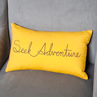 organic pillow cover . seek adventure . marigold