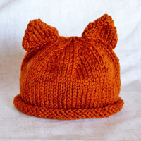 Cat Ears Hat - Infant Size - Orange - Ready to Ship
