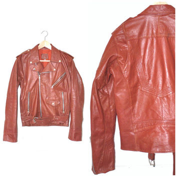 small red MOTO jacket / vintage 70s fitted punk ROKCER retro rust leather WOMENS motorcycle jacket