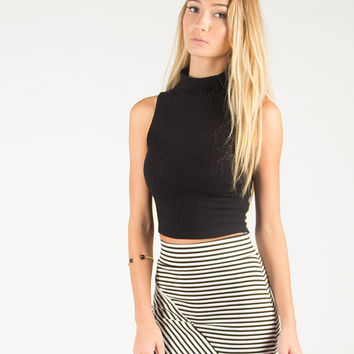 High Neck Sleeveless Cropped Top - Black /